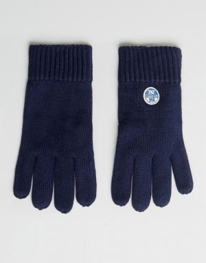 North Sails Темно-синие перчатки из мериносовой шерсти с логотипом. Цвет: темно-синий