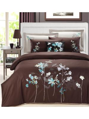 Комплект постельного белья Delux Евро Venge Mona Liza. Цвет: бирюзовый, коричневый