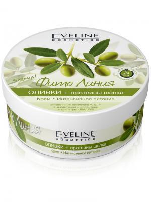 Крем Интенсивное питание серии Фито Линия: оливки и протеины шелка, 210 мл EVELINE. Цвет: белый