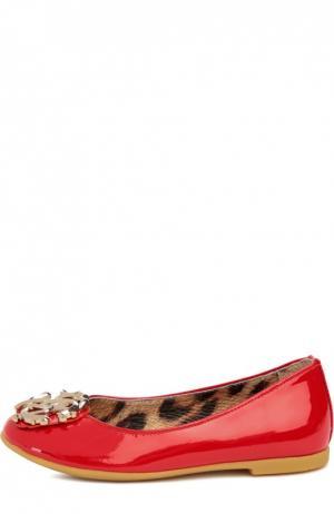 Лаковые балетки с логотипом бренда Roberto Cavalli. Цвет: красный