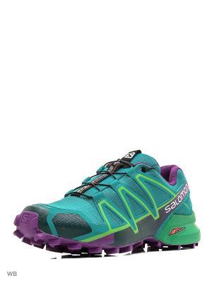 Кроссовки SHOES SPEEDCROSS 4 W Veridian G/GR/PASSI SALOMON. Цвет: зеленый, фиолетовый