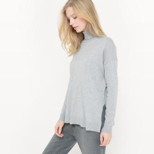 Пуловер с отворачивающимся воротником из хлопка/шелка La Redoute Collections. Цвет: светло-розовый,серый меланж