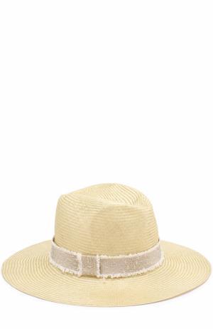 Соломенная шляпа с повязкой Inverni. Цвет: желтый