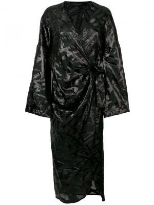 Блестящее платье-кимоно с запахом Federica Tosi. Цвет: чёрный