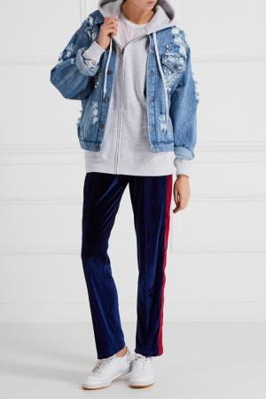 Джинсовая куртка с бусинами Forte Couture. Цвет: голубой
