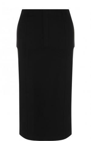 Однотонная юбка-карандаш с разрезом MCQ. Цвет: черный
