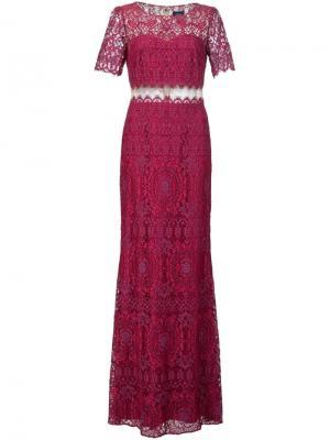 Кружевное платье Marchesa Notte. Цвет: розовый и фиолетовый