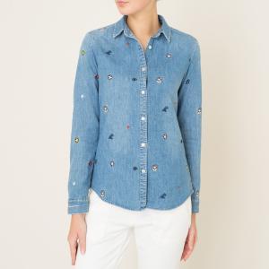 Рубашка джинсовая с нашивками MAISON SCOTCH. Цвет: деним