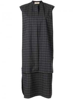 Платье-рубашка в клетку Ports 1961. Цвет: серый