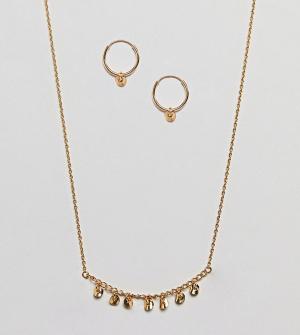 ASOS Серьги-кольца и ожерелье из позолоченного серебра в подарочном наборе. Цвет: золотой