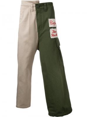 Комбинированные брюки-карго Maison Mihara Yasuhiro. Цвет: зелёный