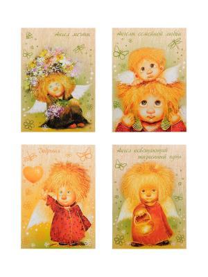 Набор открыток художницы Чувиляевой, 4 шт. Artangels. Цвет: лазурный, белый, светло-оранжевый