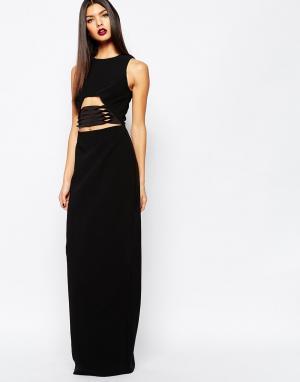 AQ Платье макси с отделкой на талии AQAQ Muscan. Цвет: черный