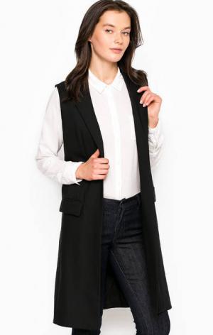 Длинный шерстяной жилет с карманами MICHAEL Kors. Цвет: черный