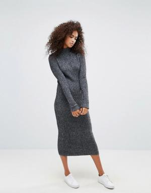 Ganni Трикотажное платье макси из ткани с добавлением шерсти Connel. Цвет: серый