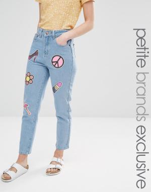 Liquor & Poker Petite Джинсы в винтажном стиле с накладками из пайеток. Цвет: синий