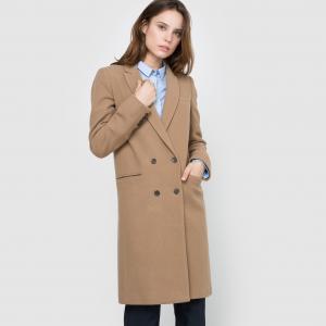 Пальто прямого покроя из шерстяного драпа La Redoute Collections. Цвет: бежево-карамельный,черный