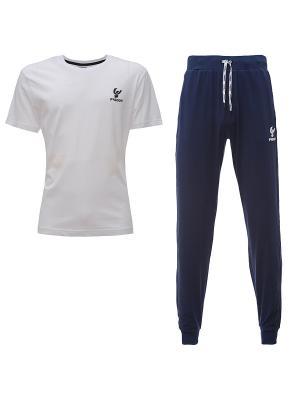 Комплект: брюки, футболка Freddy. Цвет: синий