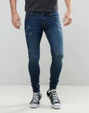 Always Rare Темные супероблегающие джинсы с потертостями Mickey. Цвет: синий