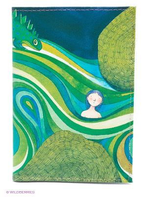Обложка для автодокументов Девочка в зеленых волнах Mitya Veselkov. Цвет: зеленый, белый, синий
