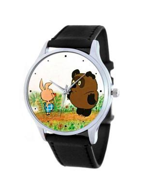 Часы Bинни Пух Tina Bolotina. Цвет: черный, коричневый, светло-зеленый