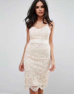 Forever Unique Кружевное облегающее платье с перекрестными бретельками. Цвет: розовый
