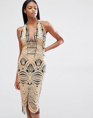 Lavish Alice Платье миди с халтером, открытой спиной и вышивкой. Цвет: коричневый