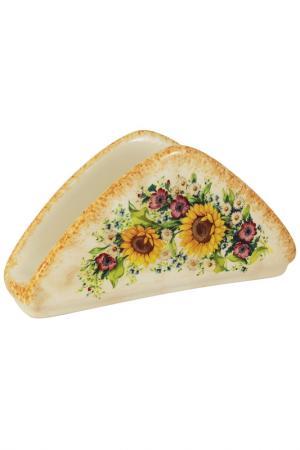 Салфетница Подсолнухи Италии LCS. Цвет: кремовый, желтый