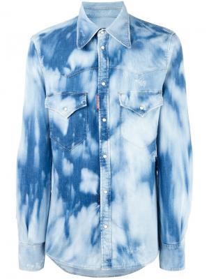 Выбеленная джинсовая рубашка Dsquared2. Цвет: синий