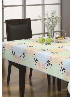 Скатерть Party Standart ПВХ с основой из флиса, 152*152 см WHITE FOX. Цвет: бежевый, зеленый, голубой