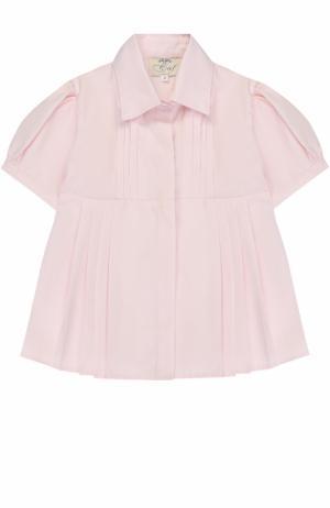 Хлопковая блуза с защипами и поясом Caf. Цвет: розовый