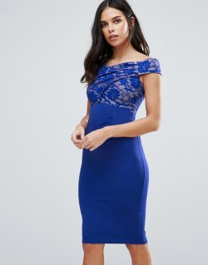 Jessica Wright Платье миди с широким вырезом и кружевом. Цвет: синий