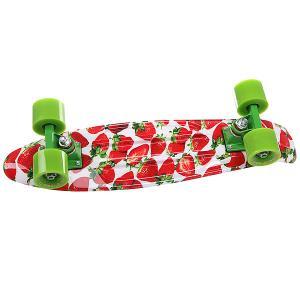 Скейт мини круизер  Stawberry Grass Red/Green/White 22 (55.9 см) Turbo-FB. Цвет: белый,красный,зеленый