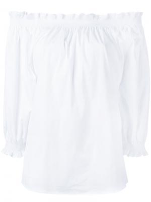 Блузка с открытыми плечами и оборками Xacus. Цвет: белый