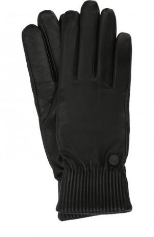 Кожаные перчатки с шерстяной подкладкой Canada Goose. Цвет: черный