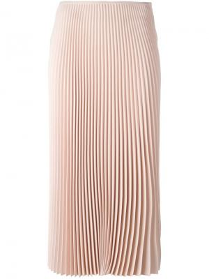 Плиссированная юбка длины миди Cédric Charlier. Цвет: розовый и фиолетовый