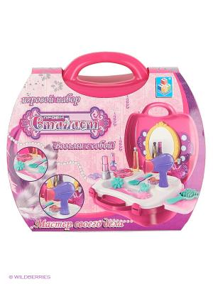 Игровой набор в чемоданчике Профи Стилист,21 предмет 1toy. Цвет: розовый