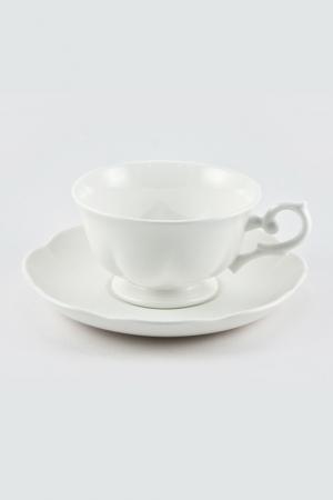 Чайная пара 180 мл White Royal Bone China. Цвет: белый