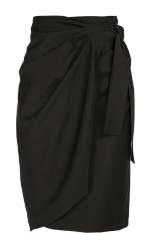 Шерстяная юбка-миди с запахом Isabel Marant Etoile. Цвет: черный