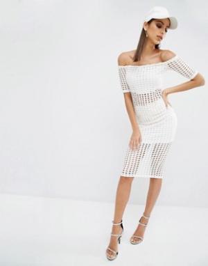 Kendall + Kylie Юбка с лазерной отделкой. Цвет: белый