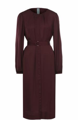 Платье-миди с поясом и длинным рукавом Raquel Allegra. Цвет: бордовый