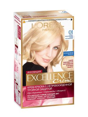 Стойкая крем-краска для волос Excellence, оттенок 01, Суперосветляющий русый натуральный L'Oreal Paris. Цвет: бежевый