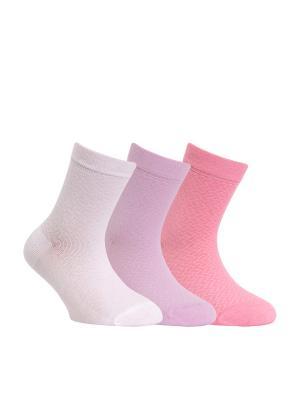 Носки CLASS 13С-9СП комплект 3 пары Conte Kids. Цвет: белый, сиреневый, розовый