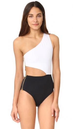 Сплошной купальник на одно плечо Kim с вырезом OYE Swimwear. Цвет: белый