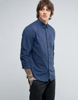 Hoxton Shirt Company Рубашка узкого кроя из саржи с начесом. Цвет: синий