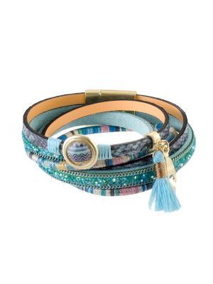 Браслет из эко-кожи BE35 Raganella Princess. Цвет: бирюзовый, голубой, золотистый