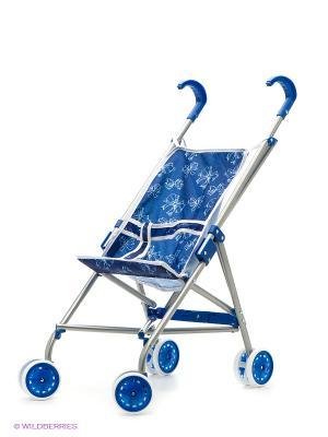 Коляска-трость для кукол Красотка синий-белый принт 1Toy. Цвет: прозрачный