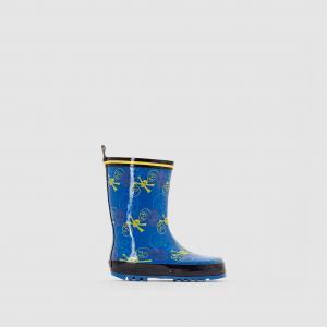 Сапоги резиновые с рисунком BE ONLY. Цвет: синий/наб. рисунок