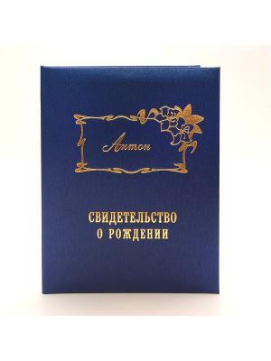 Именная обложка для свидетельства о рождении Антон Dream Service. Цвет: синий