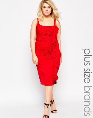 Gemma Collins Облегающее платье с рюшами. Цвет: черный